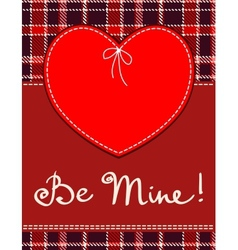 Heart in stitched textile style red heart textile vector image vector image