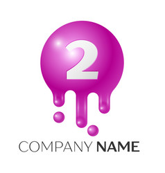 number two splash logo purple dots and bubbles vector image vector image