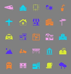 Real estate color icons on gray background vector image