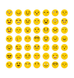 set of emoticons flat design big collection with vector image vector image