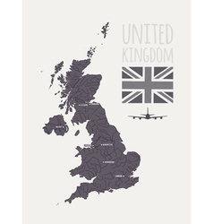 set with map text flag plane UK vector image