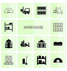 14 warehouse icons vector image