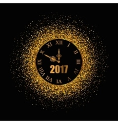 2017 New Year gold background with clock vector image