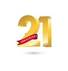 21 year anniversary template design vector