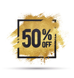 50 percent off offer with gold splash vector