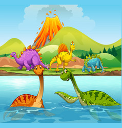a cartoon of dinosaurs vector image