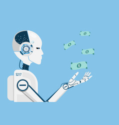 Ai robot making money for human business vector