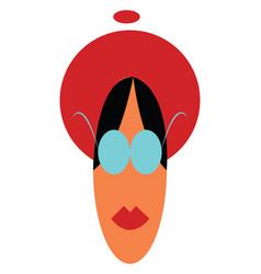 An woman in fashionable red hat or color vector