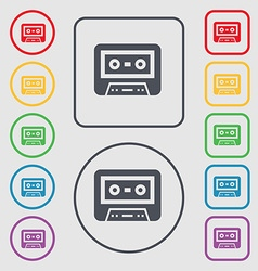 audiocassette icon sign symbol on the Round and vector image