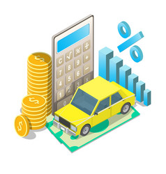 auto loan rates concept isometric vector image