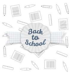 Back to School Sale Badge with Ribbon and Shadow vector