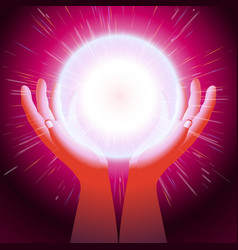 Ball magic energy hand palm flash light background vector
