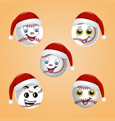 baseball ball in the hat of santa claus vector image