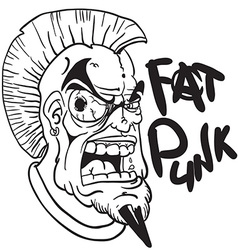 Black and white fat punk vector