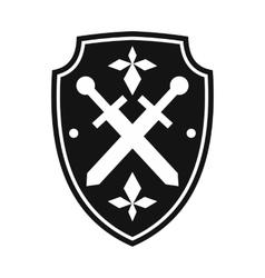 Black shield simple icon vector