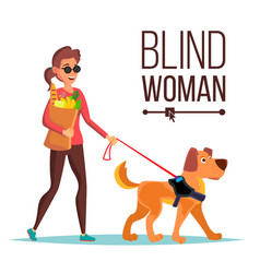 Blind woman person with pet dog companion vector