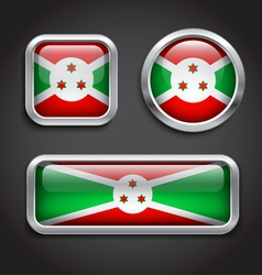 Burundi flag glass buttons vector image
