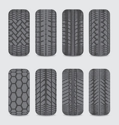 Car dotted tire tracks set vector