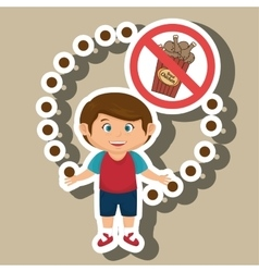 Cartoon child fast food danger symbol vector