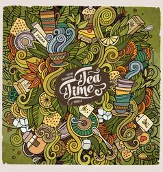Cartoon cute doodles tea time vector
