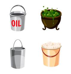cauldron icon set cartoon style vector image