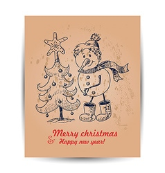 Christmas card with a snowman in the middle vector image
