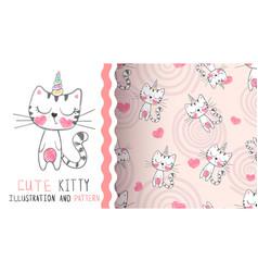 Cute kitty unicorn - seamless pattern vector