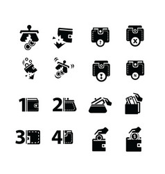 Dilapidated wallet set and hand action icons vector