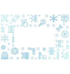 Dna test blue outline horizontal frame vector