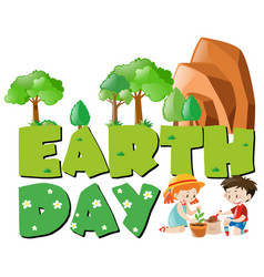 Earth day theme with kids planting trees vector