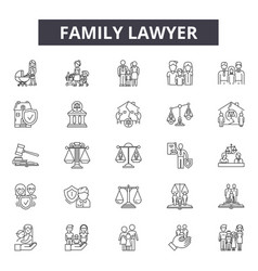 family lawyer line icons signs set vector image