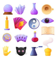 Fortune teller icons set cartoon style vector