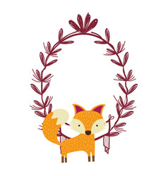 Fox with leaves vector