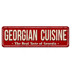 Georgian cuisine vintage rusty metal sign vector