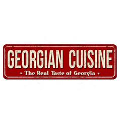 georgian cuisine vintage rusty metal sign vector image