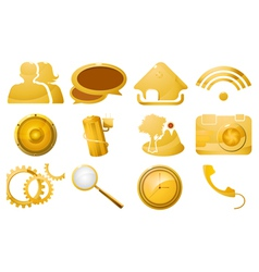 Glossy golden icon set vector image