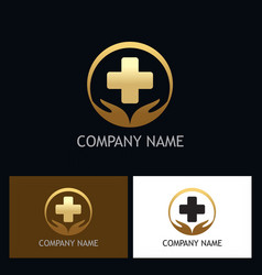 Gold heath care medic logo vector