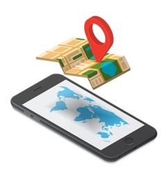 GPS navigation isometric vector