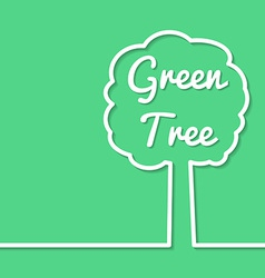 Green tree abstract line art simple poster design vector