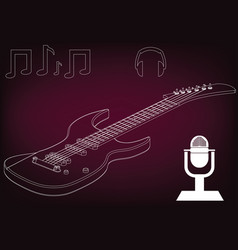 guitar on a burgundy vector image
