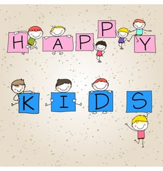hand drawing cartoon character happy kids vector image