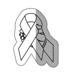 Hand holding up breast cancer symbol vector