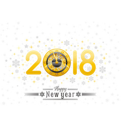 Happy new year 2018 silver golden logo icon vector