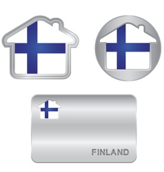 Home icon on the Finland flag vector image