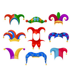 jester or fool hat set on white background vector image