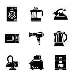 Kitchen inventory icons set simple style vector