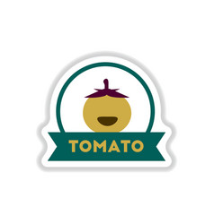 Label icon on design sticker collection tomato vector