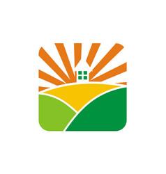Landscape home logo design template vector