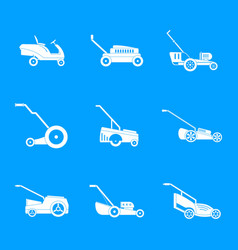 Lawnmower grass garden icons set simple style vector