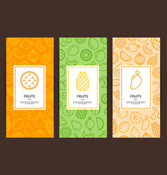 Line fruits icons flyer templates vector